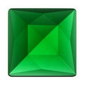 (3413) JEWEL-18mm SQUARE-GREEN