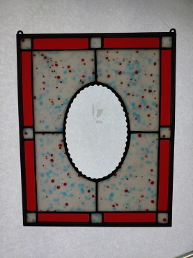 Custom Stained Glass Panel with Etched Bevel Center