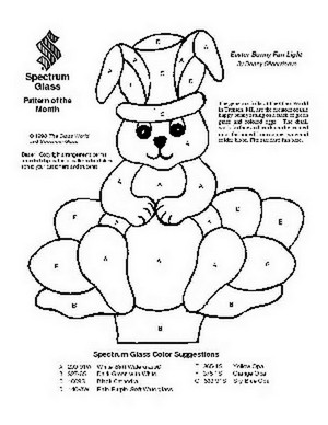 Free Stained Glass Pattern 2001-Easter Bunny Fan Light