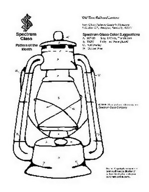 Free Stained Glass Pattern 2072-Old Time Railroad Lantern
