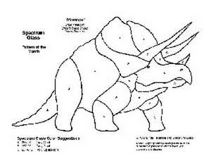 Free Stained Glass Pattern 2080-Triceratops