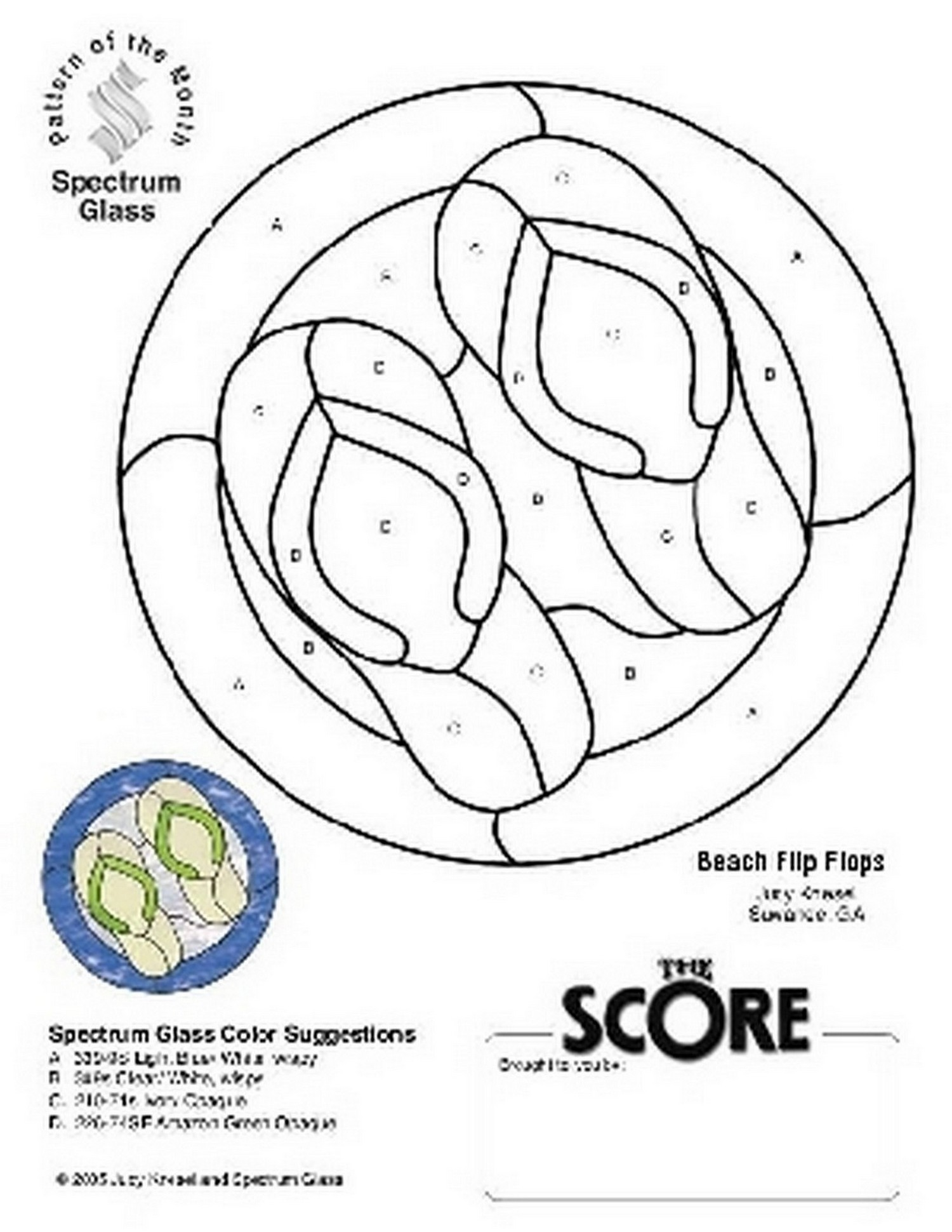 Free Stained Glass Pattern 2237-Beach Flip Flops