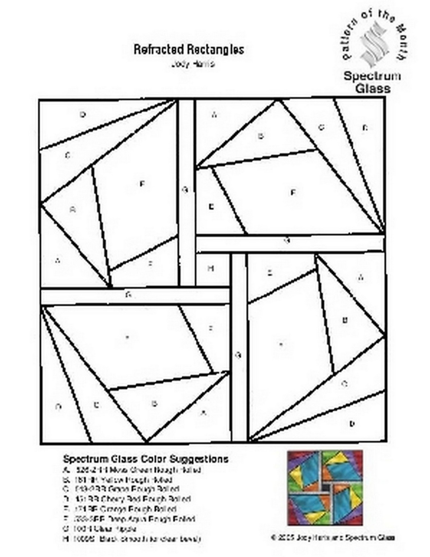 Free Stained Glass Pattern 2246-Refracted Rectangles
