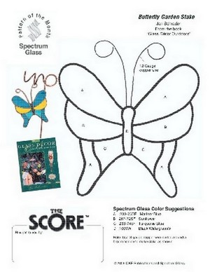 Free Stained Glass Pattern 2252-Butterfly Stake