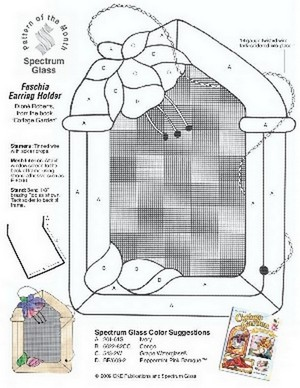 Free Stained Glass Pattern 2253-Fuschia Earring Holder