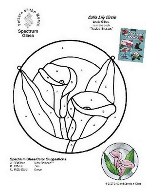 Free Stained Glass Pattern 2269-Calla Lily Circle