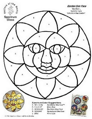 Free Stained Glass Pattern 2276-Garden Sun Face