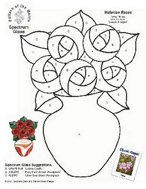 Free Stained Glass Pattern 2280-Victorian Roses
