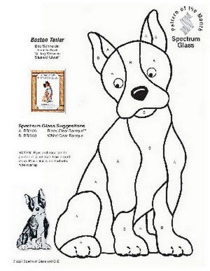 Free Stained Glass Pattern 2281-Boston Terier