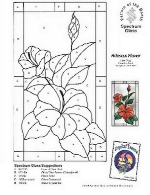Free Stained Glass Pattern 2293-Hibiscus Flower