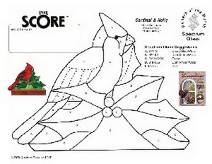 Free Stained Glass Pattern 2298-Cardinal & Holly