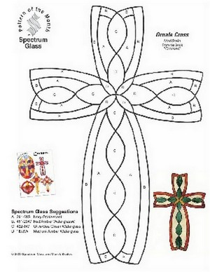 Free Stained Glass Pattern 2303-Ornate Cross
