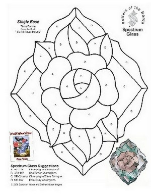 Free Stained Glass Pattern 2304-Single Rose