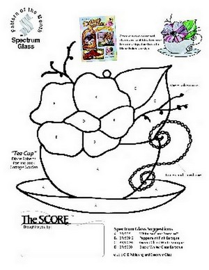 Free Stained Glass Pattern 2325-Tea Cup