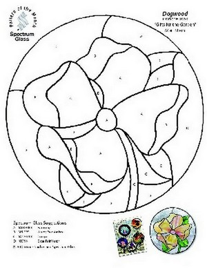 Free Stained Glass Pattern 2328-Dogwood