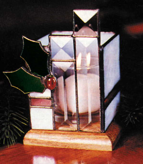 Free Stained Glass Pattern 3018 - Holly Candleholder