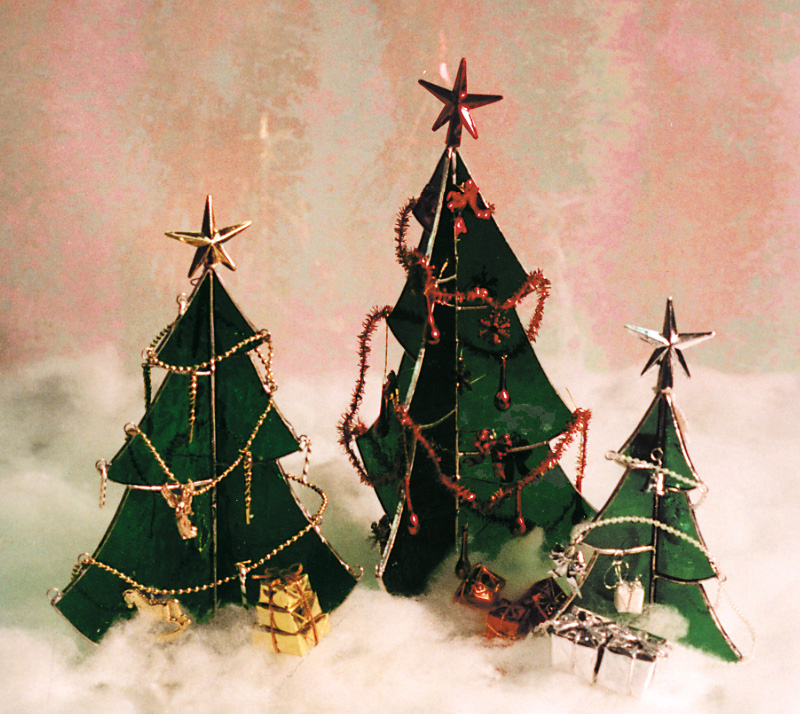Free Stained Glass Pattern 3022 - Christmas Trees