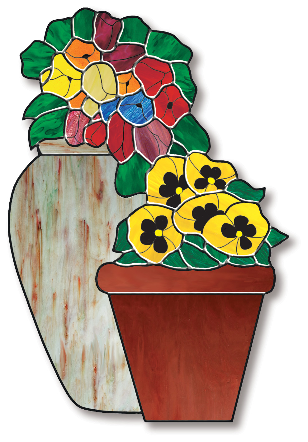 Free Stained Glass Pattern 3051 - Flower Pots