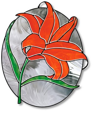 Free Stained Glass Pattern 3053 - Blooming Lily