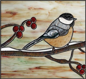 Free Stained Glass Pattern 3128 - Winter Chickadee