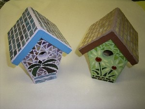 Stained Glass Mosaic Bird House