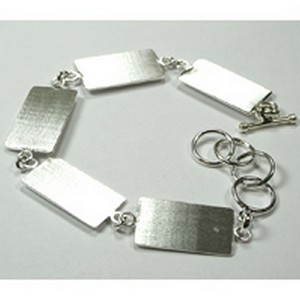 (48J993) FLAT LINKED BRACELET RECTANGLE SILVER OVERLAY