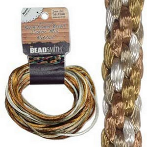 (HRTMIX610-R) RATTAIL 1MM WARM NEUTRALS 4 COLORS- 3YD EA =12YD/CD