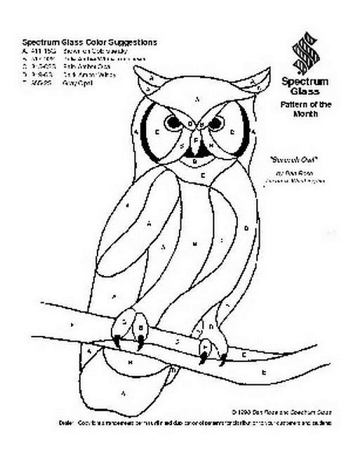 Free Stained Glass Pattern 2008-Screech Owl