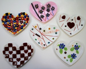 Fused Glass Heart Dish